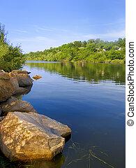 bello, paesaggio, sopra, uno, calma, lago