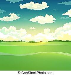 bello, paese, vettore, illustrazione, paesaggio.