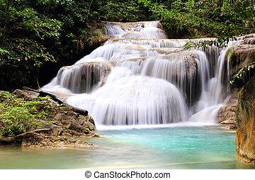 bello, parco nazionale, erawan, cascata, kanchanaburi