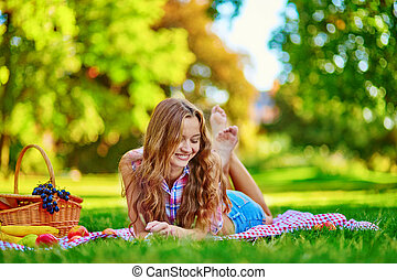 bello, parco, ragazza, picnic, detenere