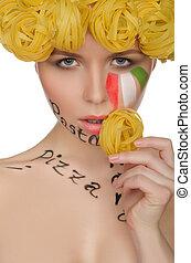 bello, pasta, stile, donna, italiano