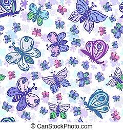 bello, pastello, colorito, modello, seamless, colori, butterflies.