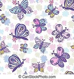 bello, pastello, colorito, modello, seamless, colori, farfalle