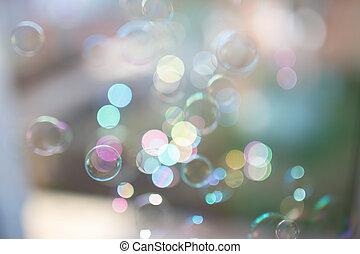 bello, pastello, foto, luce sole, bokeh, colors., bolle, sapone
