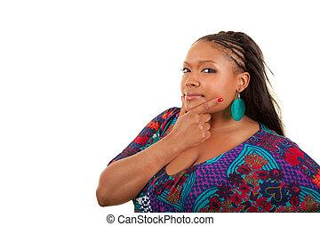 bello, pensare, donna americana, africano