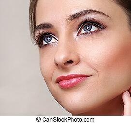 bello, perfetto, donna, face., trucco, closeup