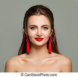 bello, perfetto, donna, gioielleria, trucco, giovane, labbra, earrings., modello, sorridente, rosso