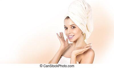 bello, perfetto, donna, lei, face., secondo, giovane, bagno, girl., skin., toccante, pelle, terme, skincare.
