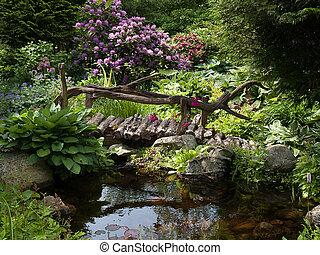 bello, perfetto, giardino, paesaggio