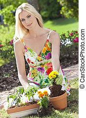 bello, piantatura, donna, giardinaggio, biondo, fiori