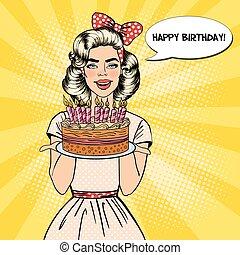 bello, piastra, donna, arte, candles., pop, compleanno, vettore, illustrazione, presa a terra, torta, felice