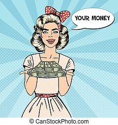 bello, piastra, donna, arte, soldi., pop, vettore, illustrazione, presa a terra