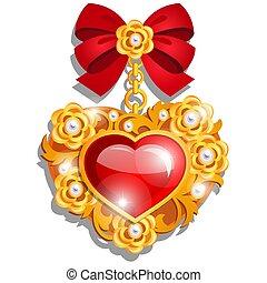 bello, pietre, set, amore, cuore oro, forma, generosity.,...