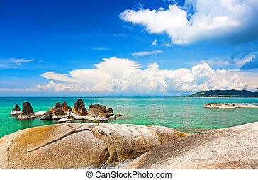 bello, pietre, spiaggia, lamai, tailandia, koh samui