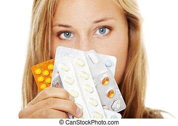 bello, pills., donna, giovane