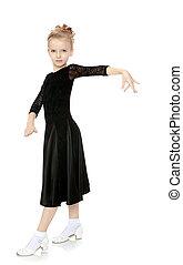 bello, poco, ballerino, in, uno, nero, dress.