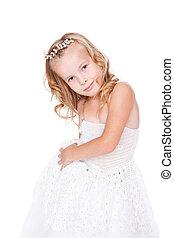 bello, poco, bella ragazza, vestire, bianco