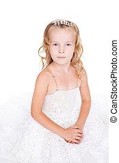 bello, poco, isolato, fondo, vestito bianco, ragazza