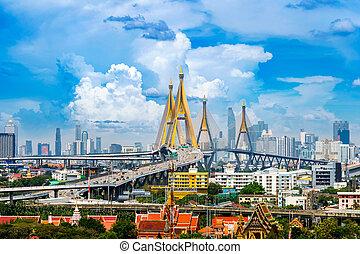bello, ponte, bangkok, thailand., cityscape, autostrada