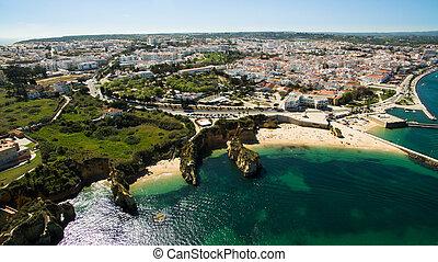 bello, portogallo, oceano, scogliere, spiaggia, sud