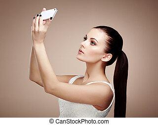 bello, presa, donna, selfie, giovane