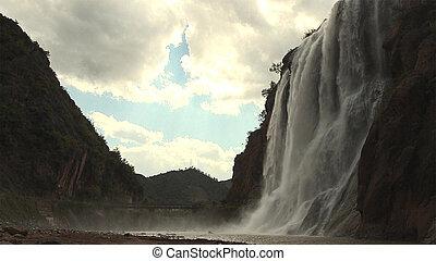 bello, presto, cascata, china., primavera