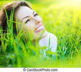 bello, primavera, giovane, fuori, godere, natura