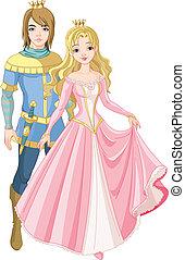 bello, principe, e, principessa