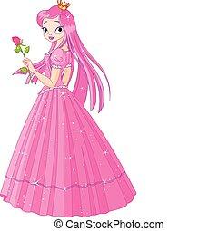 bello, principessa, con, rosa