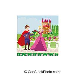 bello, principessa, giardino, principe