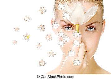 bello, puzzle, ragazze, effetto, fase