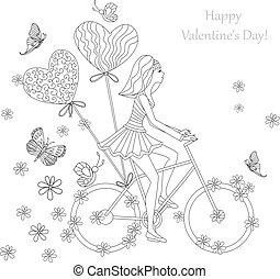 bello, ragazza, è, sentiero per cavalcate, bicicletta, per, tuo, coloritura, book., ha