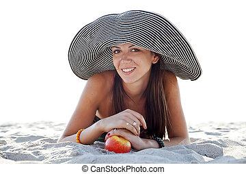 bello, ragazza, a, spiaggia