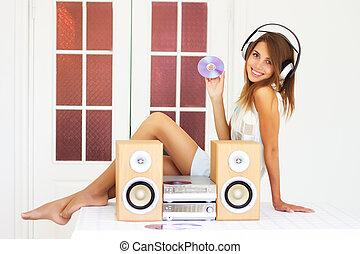 bello, ragazza, ascoltare musica