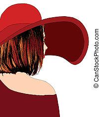 bello, ragazza, cappello, rosso