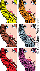 bello, ragazza, colorare, faccia, capelli