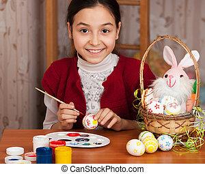 bello, ragazza, colorato, uova pasqua