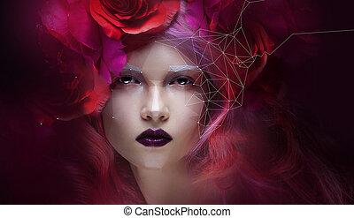 bello, ragazza, con, luminoso rosa, capelli, piccolo, effetto, basso, poly., cibernetico, futuristico, concetto, per, tuo, disegno