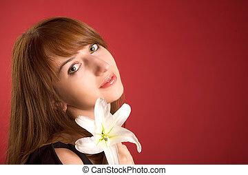 bello, ragazza, con, orchidea, lotto, di, copy-space