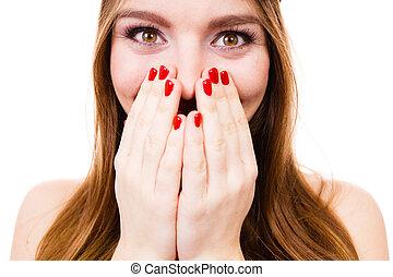 bello, ragazza, con, rosso, nails.