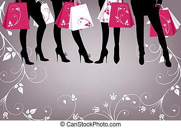 bello, ragazza, con, shopping