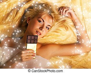 bello, ragazza, con, uno, cioccolato