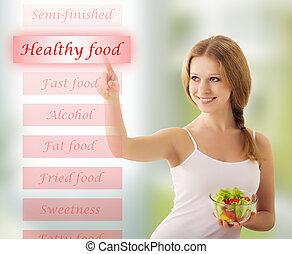 bello, ragazza, con, verdura, insalata, scegliere, cibo sano