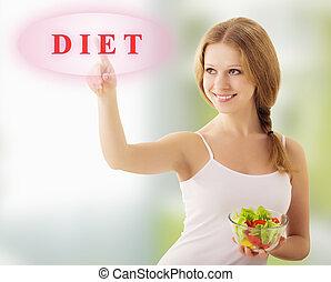 bello, ragazza, con, verdura, insalata, scegliere, dieta