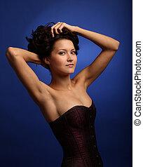 bello, ragazza, corsetto