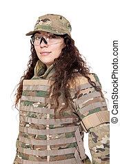 bello, ragazza, esercito, fucile