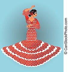 bello, ragazza, flamenco, spagnolo