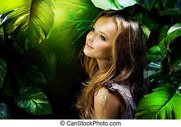 bello, ragazza, giungla