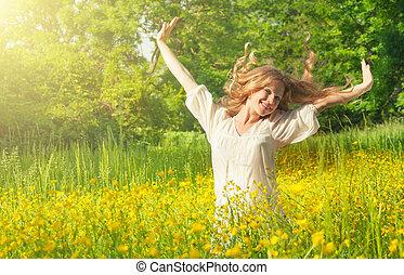 bello, ragazza, godere, il, estate, sole