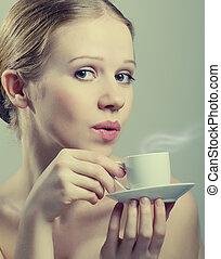 bello, ragazza, godere, uno, tazza caffè